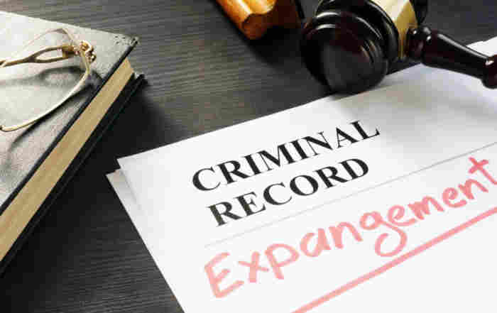 Expunge of criminal record. Expungement Michigan written on a document. stock photo